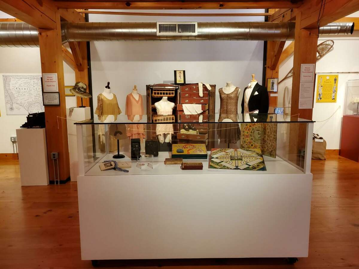 """The Weston History and Culture Center, Weston Historical Society, has added Saturdays to its open fall hours to view its new exhibit that is titled: """"Weston Slept While the Nation Roared: Life in the Twenties."""" All together, and starting on Saturday, and including Sundays, Wednesdays, and Thursdays, through the conclusion of 2021, the exhibit will be open from 1 to 4 p.m., on the days, at the History and Culture Center, and Historical Society property at 104 Weston Road in Weston. A view of the exhibit, and the items in the exhibit, are shown."""