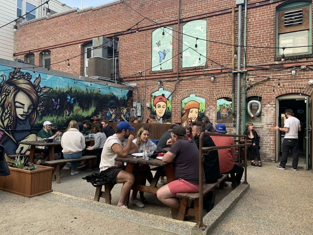 The patio at Finnegans Wake offers plenty of outdoor space for customers.