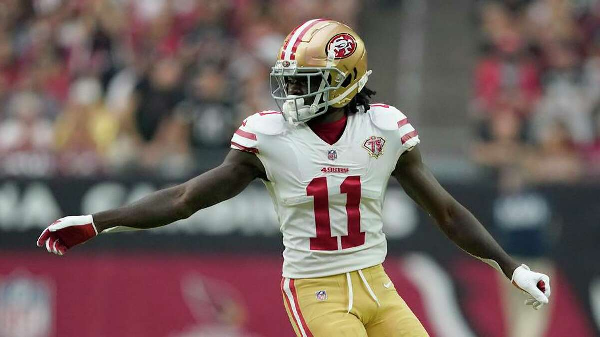 49ers receiver Brandon Aiyuk had two catches for 32 yards on four targets in a 17-10 loss at Arizona on Sunday.