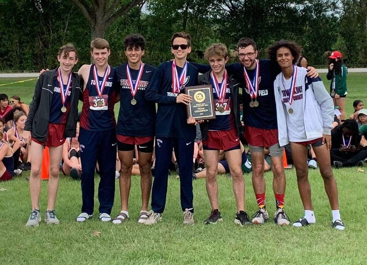 The Tompkins boys cross country team of Noah Howard, Aiden Ramshaw, Colton Howard, Brian Luciano, Parker Wood, Juan Perez Salas and Lewis Perkins won the District 19-6A championship Oct. 12 at Paul D. Rushing Park.