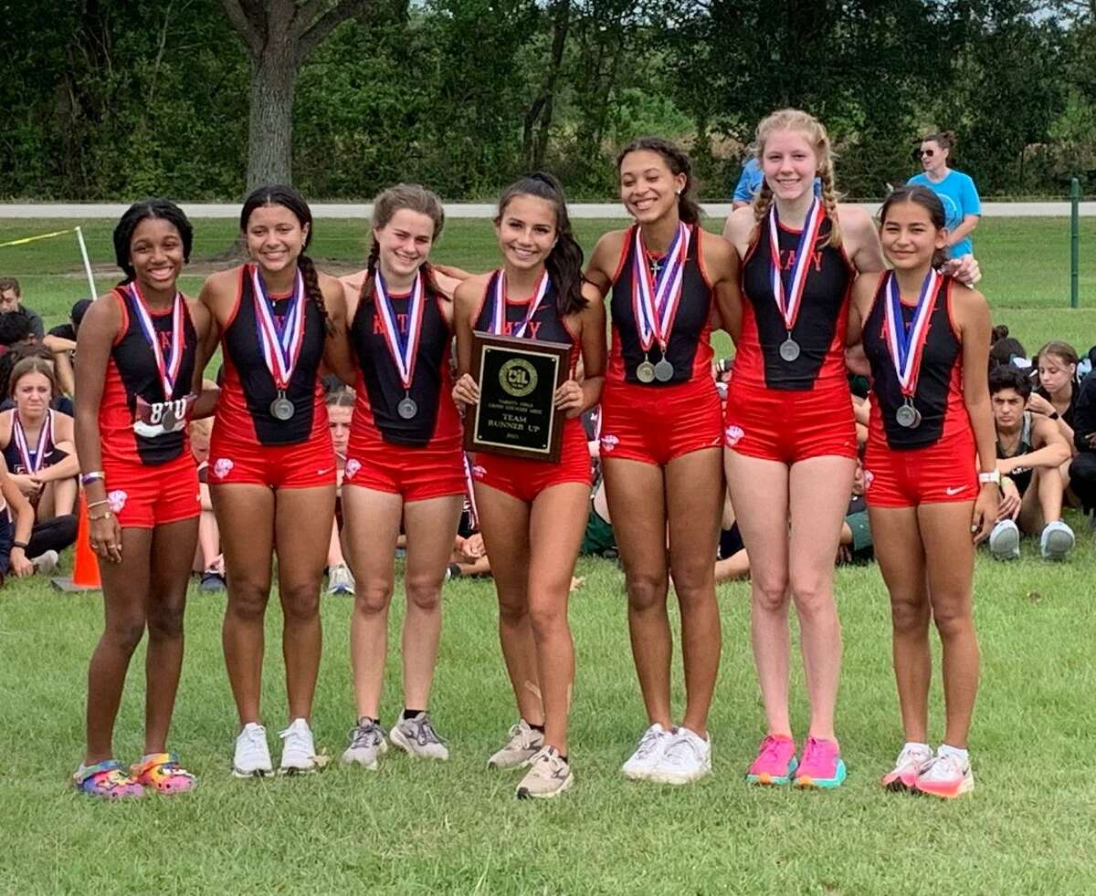 The Katy girls cross country team of Isabella Rubio, Christina Rodriguez, Larissa Carr, Maddy Hunter, Ally Serna, Grace Shipman and Thierri Knight was the District 19-6A runner-up Oct. 12 at Paul D. Rushing Park.