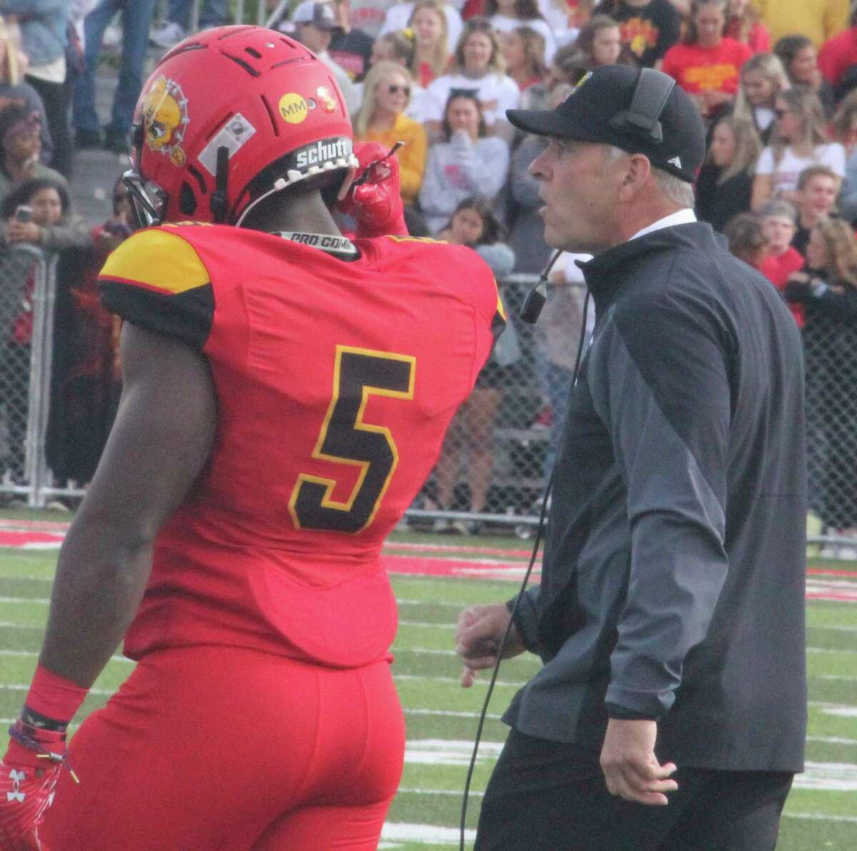 Ferris coach Tony Annese and running back Marvin Campbell are ready for the big showdown with Grand Valley on Saturday. (Pioneer photo/John Raffel)