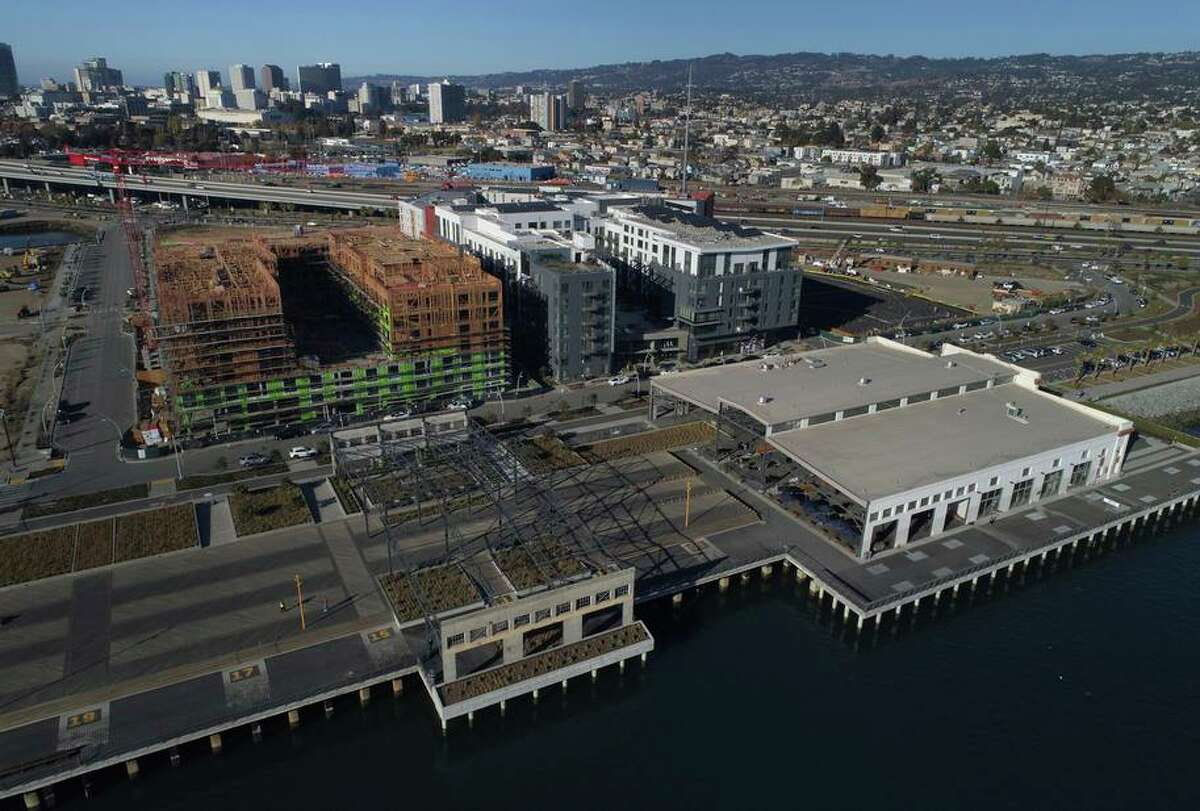 An aerial view from November, 2020 of the new Township Commons Park in the Brooklyn Basin development along the estuary in Oakland.