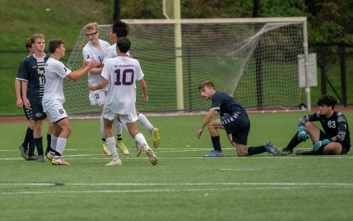 Voorheesville celebrates a goal during the Colonial Council tournament boys' soccer game against Cohoes on Wednesday, Oct, 13, 2021 in Troy, N.Y.