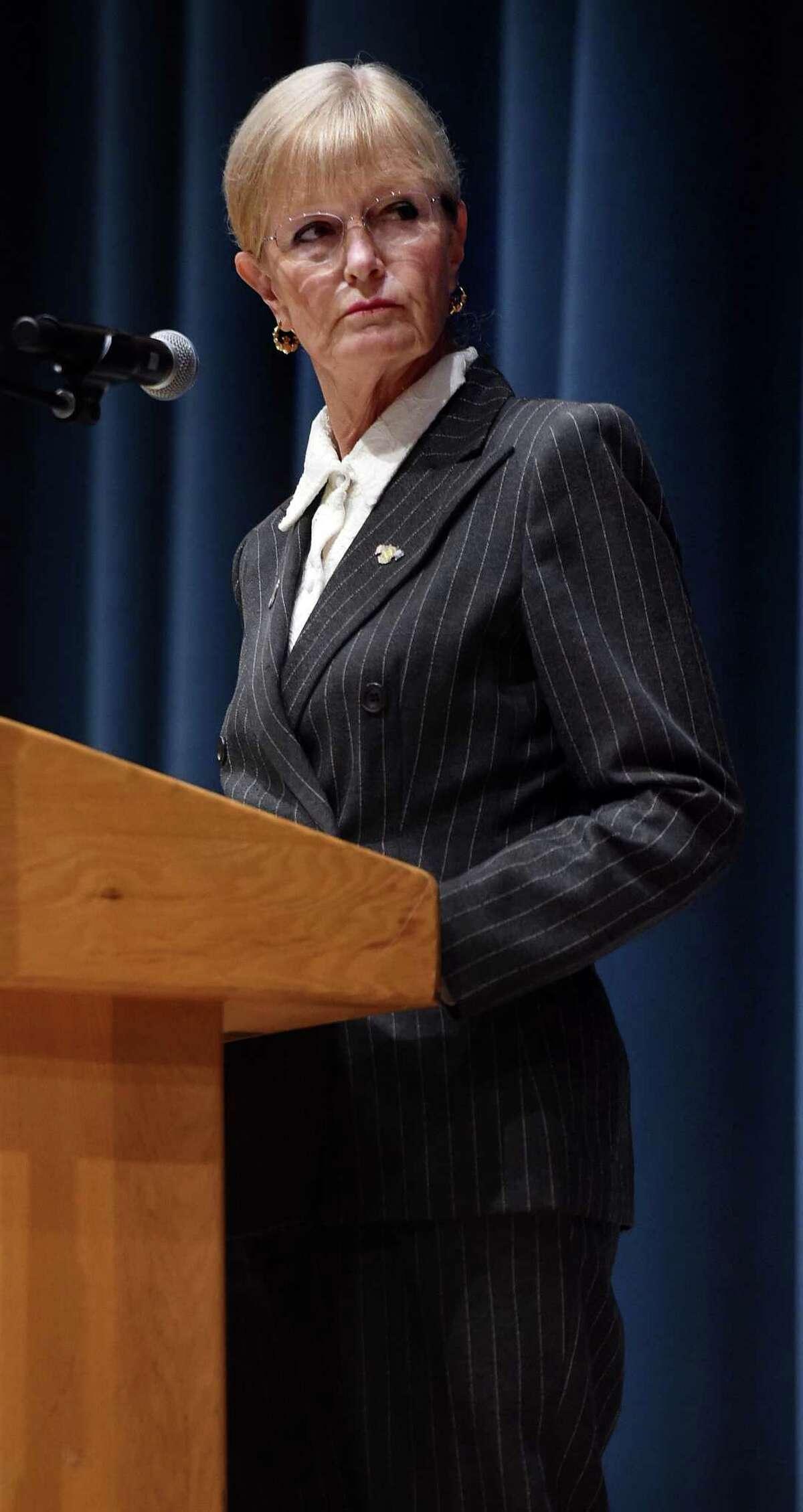 West Haven Mayor Nancy Rossi debates Councilperson Barry Lee Cohen at West Haven High School Wednesday.