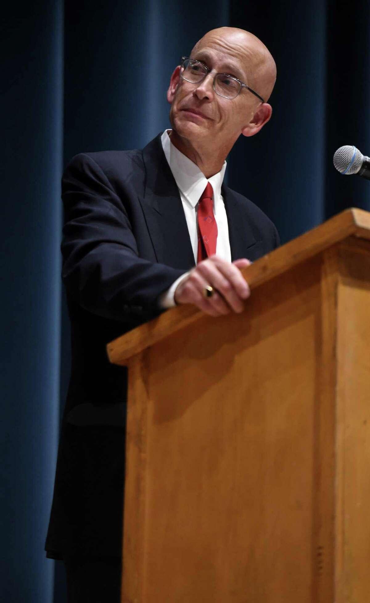 Councilperson Barry Lee Cohen debates West Haven Mayor Nancy Rossi at West Haven High School Wednesday.