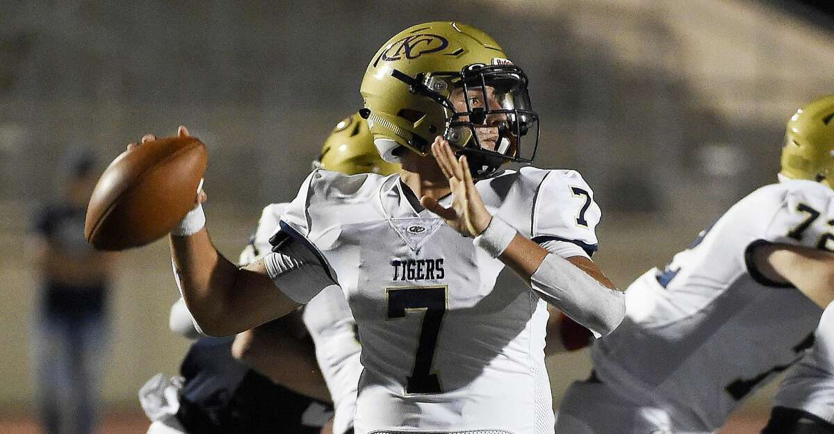 Klein Collins quarterback Justin Castillo throws a pass during the first half of a high school football game against Atascocita, Thursday, Aug. 26, 2021, in Humble.