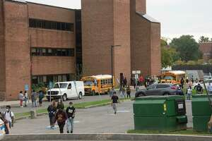 Albany High School students are seen leaving for the day on Wednesday, Oct, 13, 2021 in Albany, N.Y.