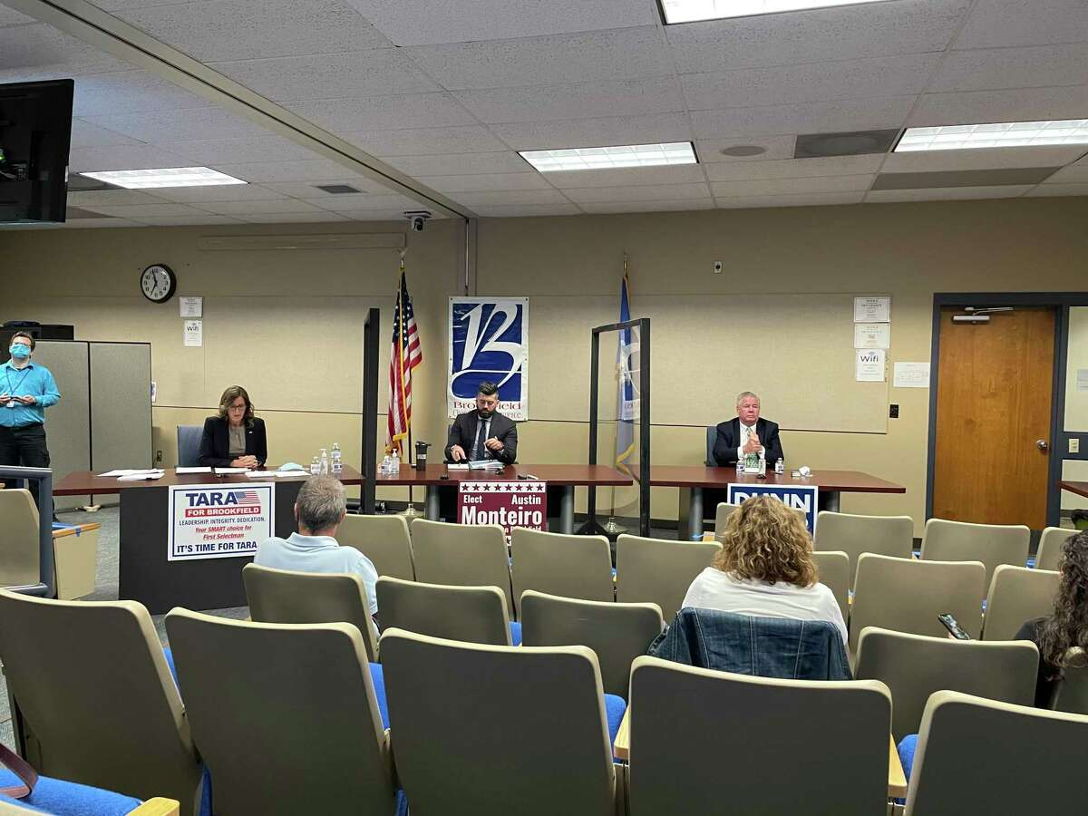 Three candidates for first selectman in Brookfield faced off in a debate Tuesday night. From left to right: Tara Carr, Austin Monteiro, Steve Dunn.