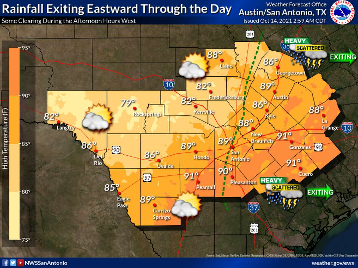 San Antonio will continue to see scattered rain throughout the day on Thursday, NWS says.