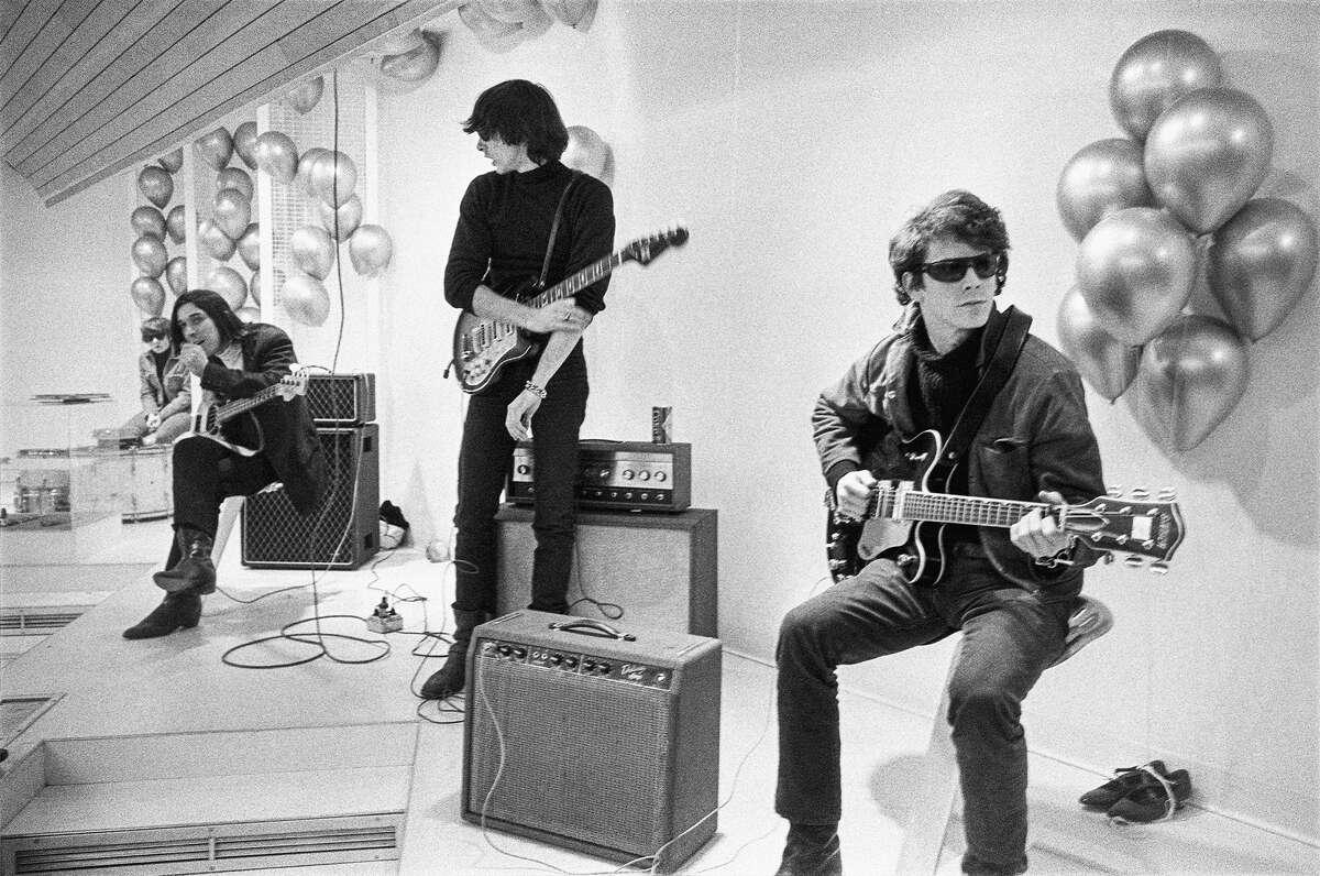 """(L-r) Moe Tucker, John Cale, Sterling Morrison and Lou Reed in """"The Velvet Underground."""""""
