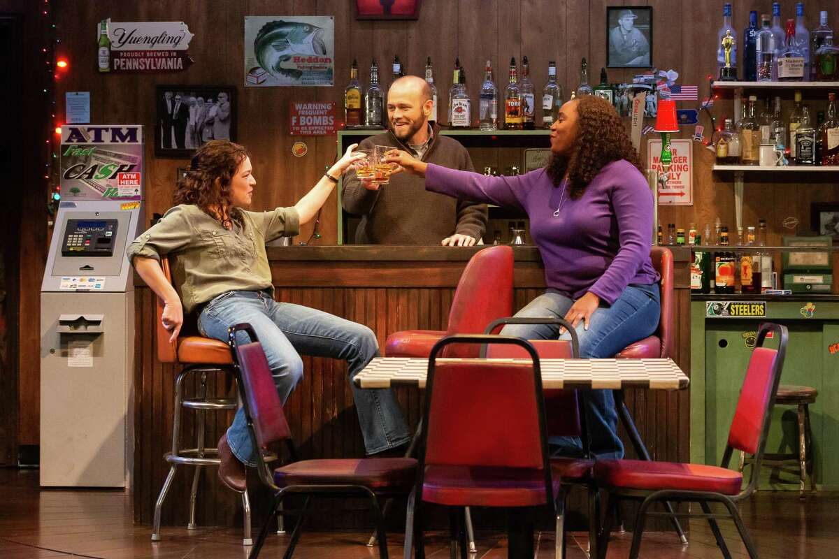 Elizabeth Bunch as Tracey, Adam Gibbs as Stan, and Michelle Elaine as Cynthia in Alley Theatre's production of 'Sweat'