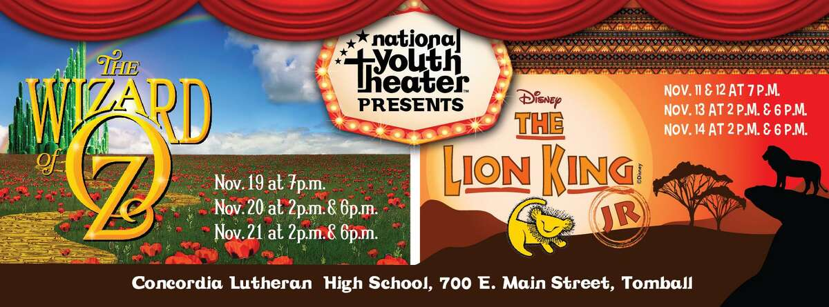 """The National Youth Theater acting group is presenting """"The Lion King Jr."""" and """"The Wizard of Oz"""" in November."""
