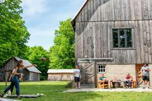 You can relax in a yurt, or play lawn games at Iron Fish Distillery in Thompsonville. (Iron Fish Distillery/Courtesy Photo)