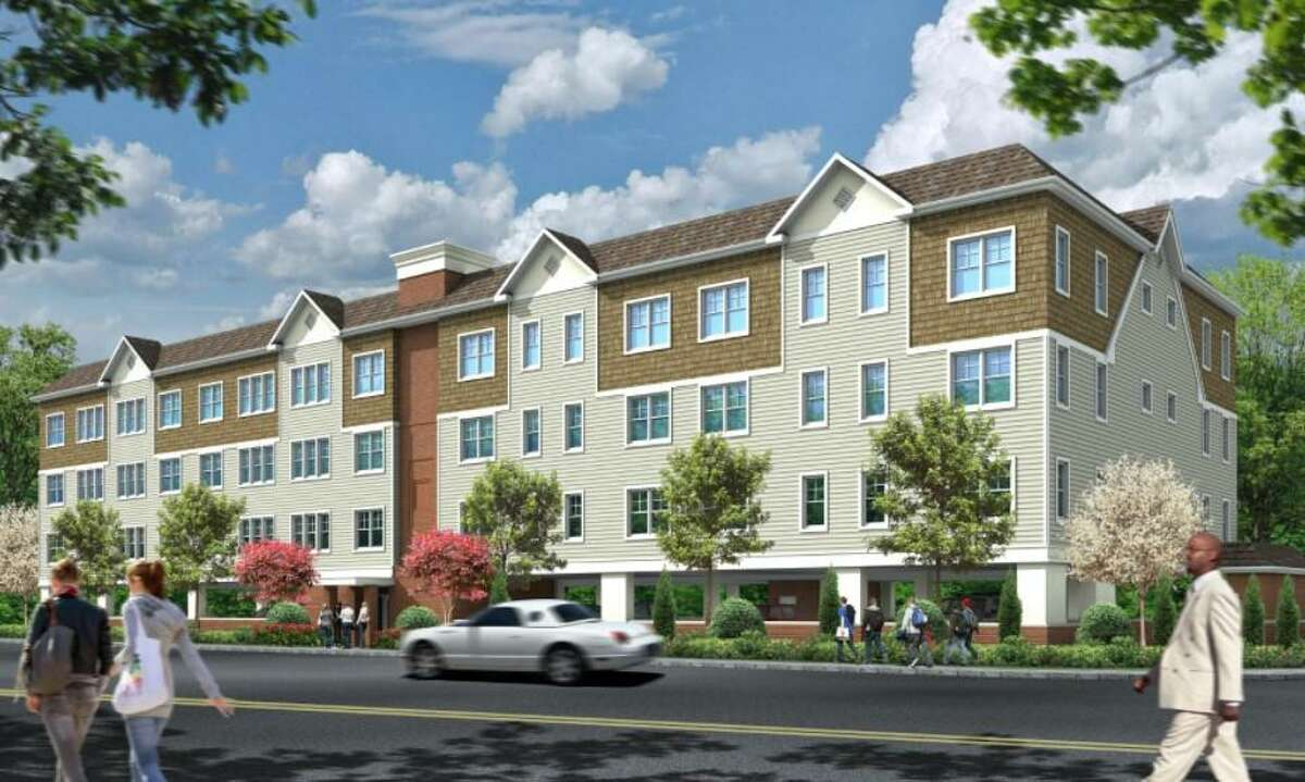 A rendering of a 45-unit apartment building proposed for a 0.58-acre Surf Avenue property in Stratford.