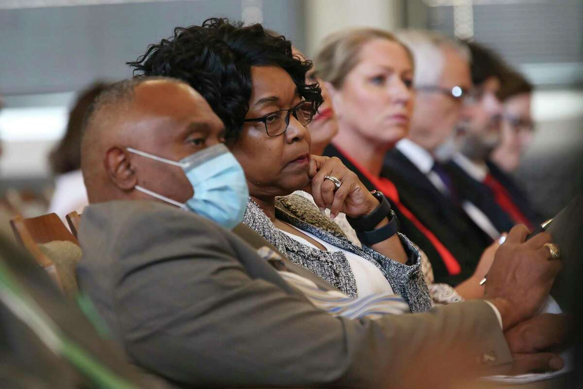 CPS Energy President and CEO Paula Gold-Williams listens as the Emergency Preparedness Committee presents their report on the February storm to the San Antonio City Council, Thursday, June 24, 2021.