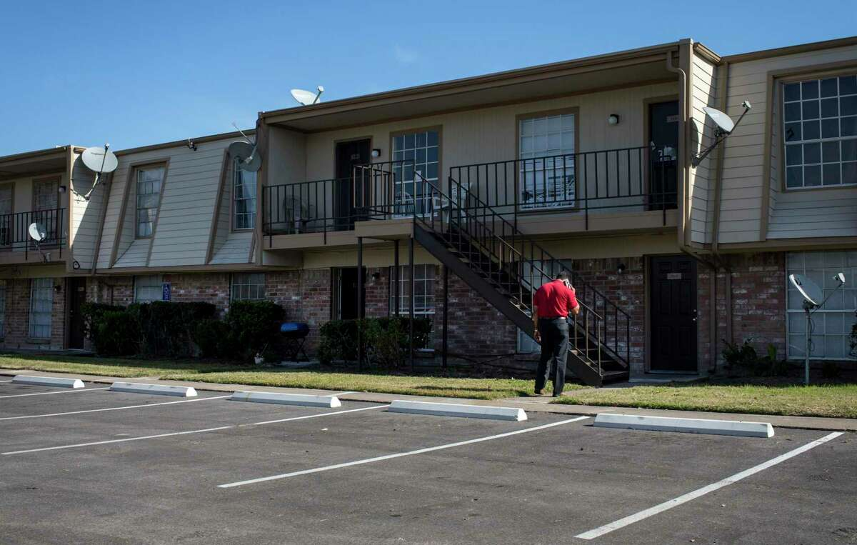 An assistant manager at Coppertree Village apartments asked two reporters to leave as they were talking to a resident about maintenance issues on Tuesday, Nov. 19, 2019, in Houston.