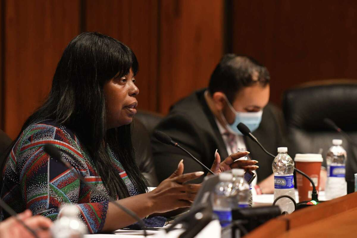 Assembly member Latrice Walker questions law enforcement witnesses during an Assembly hearing on gun safety proposals and the status of the firearm ammunition sales database on Thursday, Oct. 14, 2021, at the Legislative Office Building in Albany, N.Y.