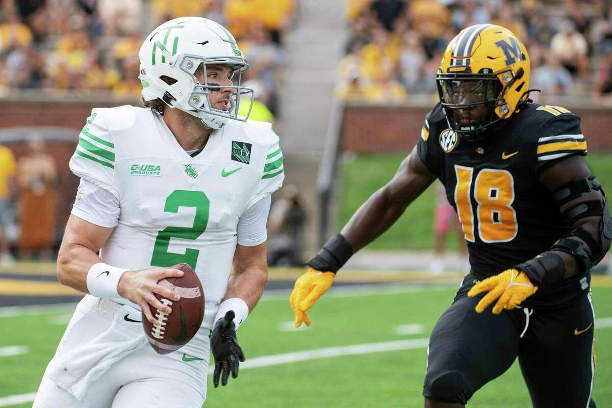 North Texas quarterback Austin Aune got his first start of the season last week against Missouri.