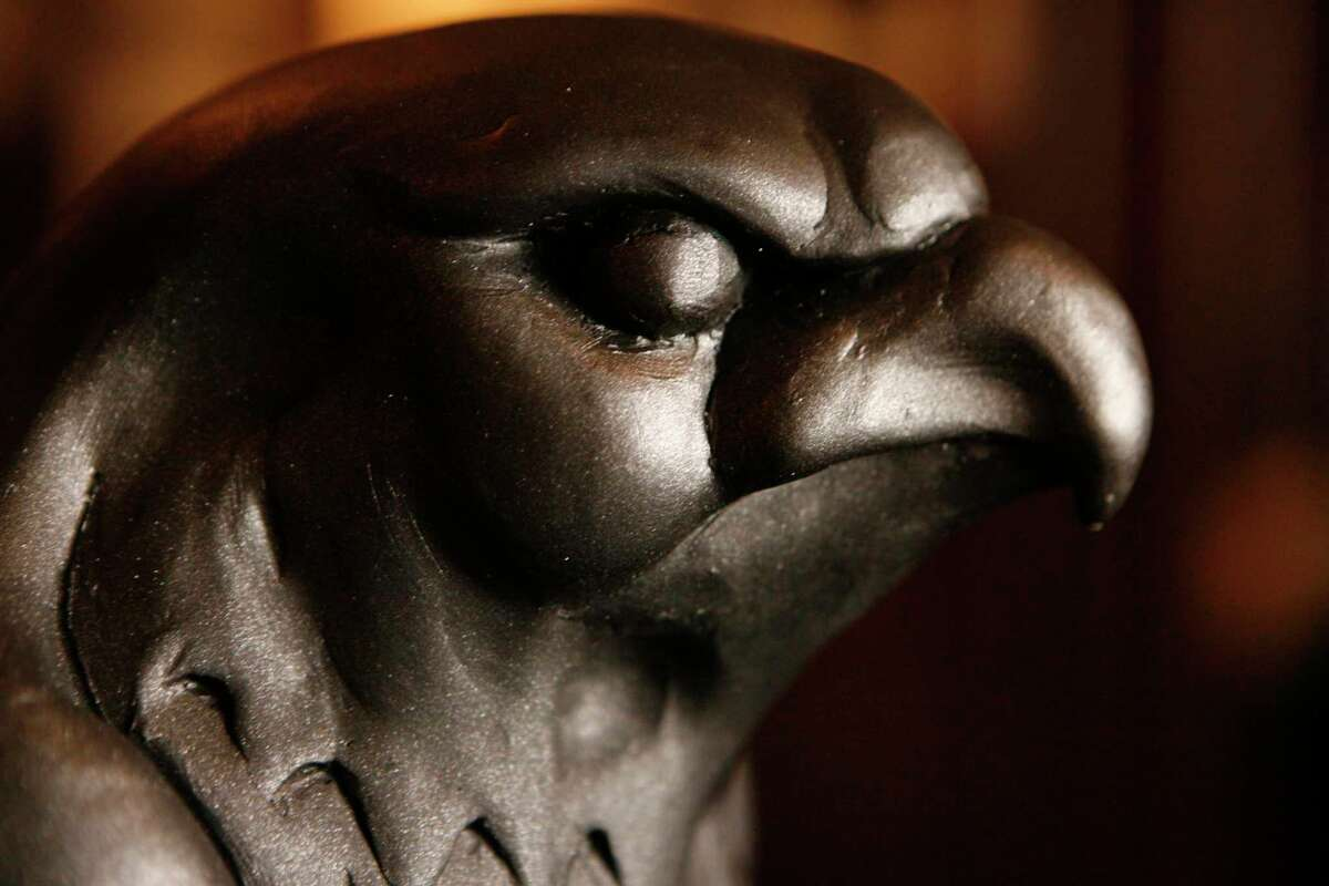 A clay model of the new Maltese Falcon on display at John's Grill in San Francisco, CA.