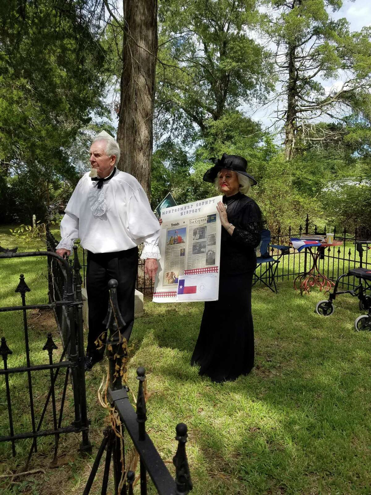 Actors portray Charles B. Stewart, designer of the Texas flag, and his wife Julia at the Voices of the Past tour in 2019 held in Montgomery.