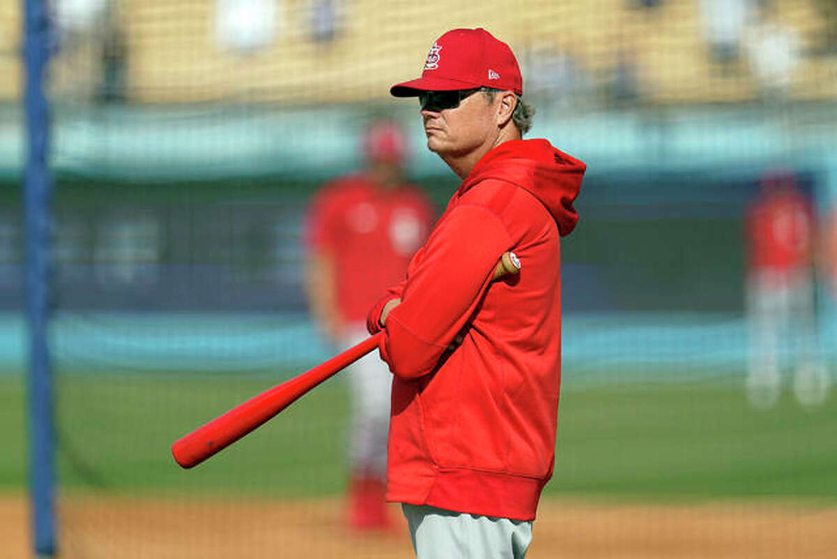 """The Cardinals fired manager Mike Shildt Thursday, citing """"philosophical differences."""" He is shown prior to the National League National League Wild Card playoff game Oct. 6 at Dodger Stadium."""