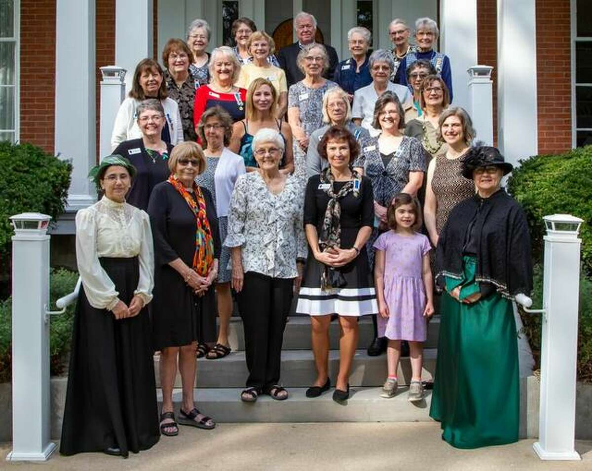 Members of the Monticello Foundation and the Ninian Edwards Chapter, NSDAR gathered at the Evergreens Oct. 9 to honor Harriet Haskell. Pictured, in the front row, from left, are Cindy Turner, Bonnie Norman, Linda Nevlin, Terri Hilgendorf, Talia McDonald and Kathy Wilson. In the second row are Paula Mattix-Wand and Jean Shimunek. In the third row are Dianne Blasa, Andrea Dipazo, Carla Snyder, Debbie Killebrew and Lacy McDonald. In the fourth row are Joyce Mormino, Carol Borner, Ellie Dralle, Barb Oleson, Terri Drew and Susan Kreitner. In the back row are Louise McKinney, Rose Mary Oglesby, Esther Gillespie, Zeke Jabusch, Ferne Ridenour, Roberta Mozier and Shirley Lyerla.