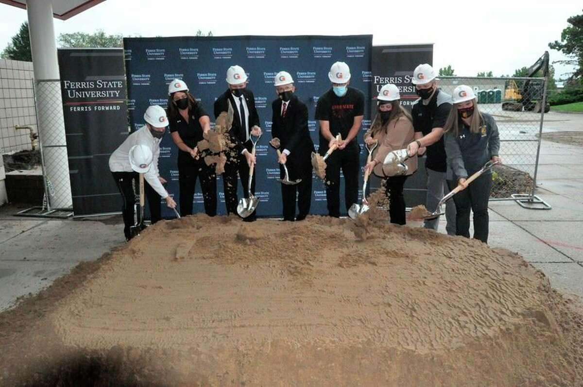 Ferris president David Eisler (center) leads the ground-breaking ceremony on Thursday of the new Athletic Performance Center. (Photo courtesy of Hannah Crouch & FSU Athletics)