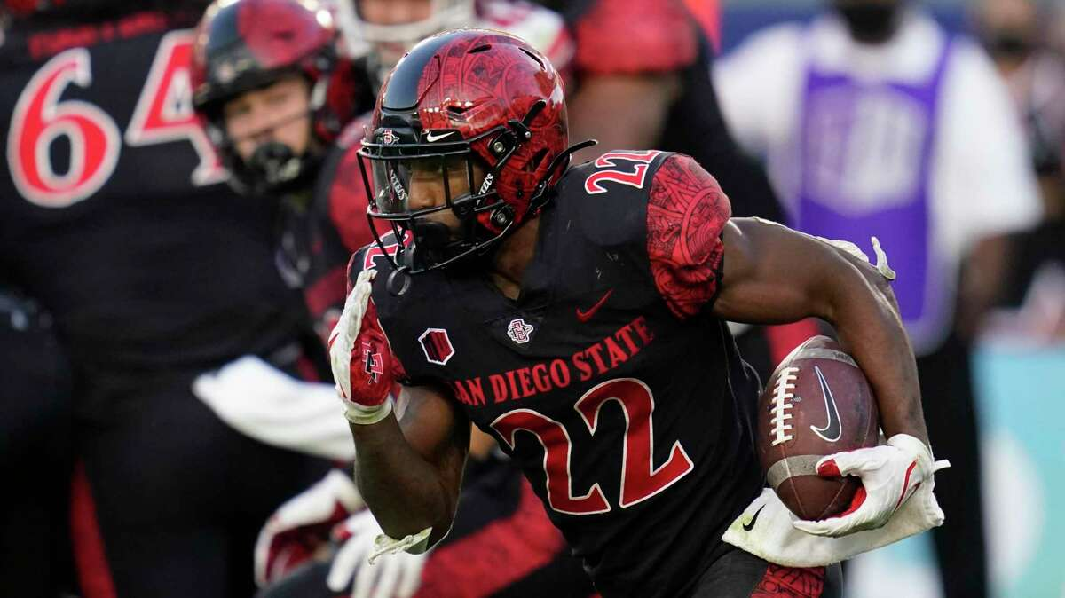 San Diego State running back Greg Bell (22) during an NCAA college football game against Utah Saturday, Sept. 18, 2021, in Carson, Calif. (AP Photo/Ashley Landis)
