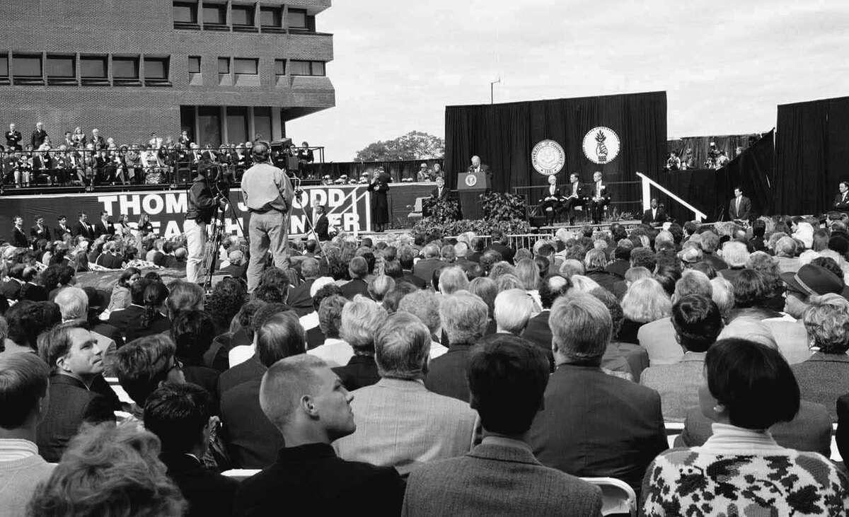 Some 1,400 invited guests attend the dedication of the Thomas J. Dodd Research Center on October 15, 1995