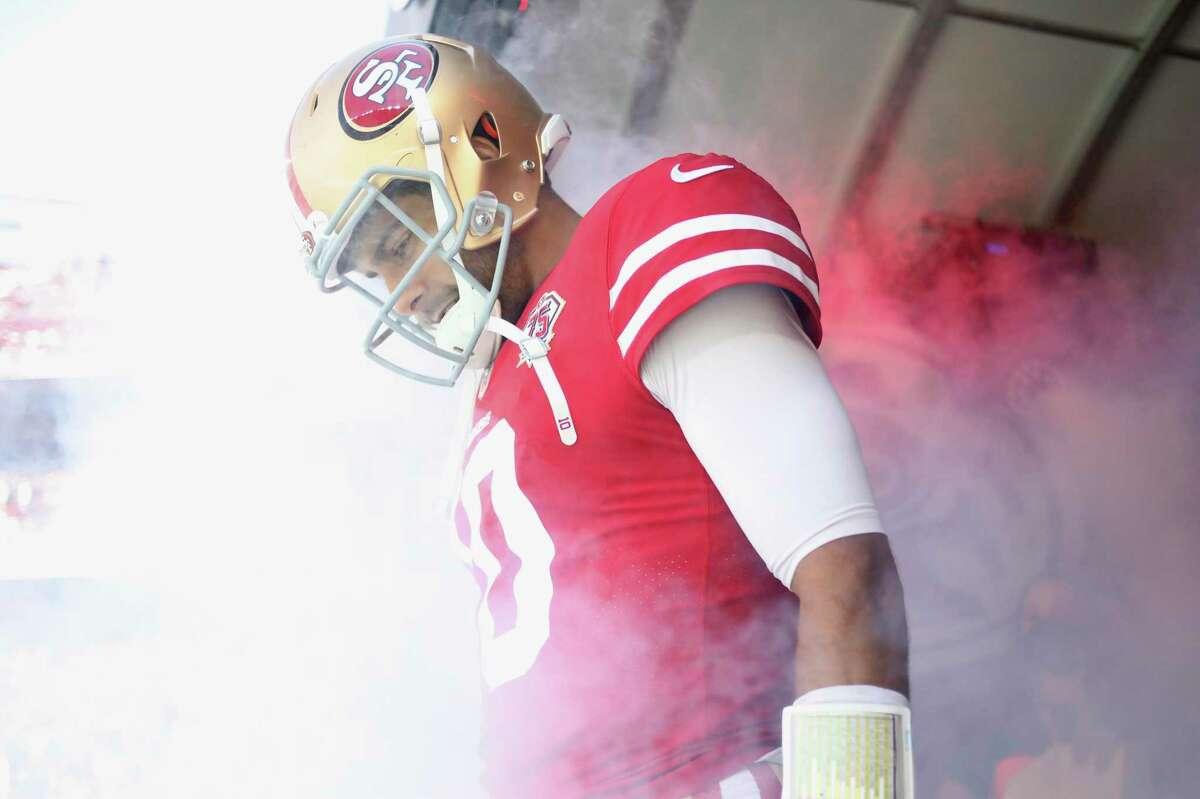San Francisco 49ers quarterback Jimmy Garoppolo before an NFL football game against the Seattle Seahawks in Santa Clara, Calif., Sunday, Oct. 3, 2021. (AP Photo/Jed Jacobsohn)