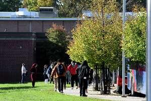Dismissal time at Schenectady High School on Thursday, Oct. 14, 2021, in Schenectady, N.Y.