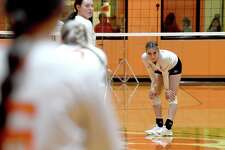 Bridge City and Orangefield faced off in a volleyball match-up at Orangefield Wednesday. Photo made Wednesday, September 15, 2021 Kim Brent/The Enterprise