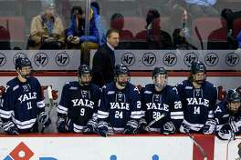 Yale coach Keith Allain behind the bench during a 2016 against Boston University in Boston.
