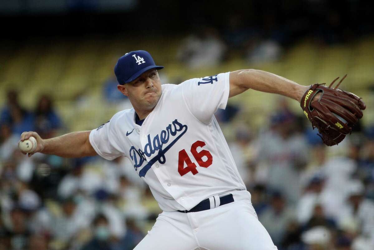 Los Angeles Dodgers starting pitcher Corey Knebel throws in the first inning against the New York Mets at Dodger Stadium on Thursday, Aug. 19, 2021, in Los Angeles. (Gina Ferazzi/Los Angeles Times/TNS)
