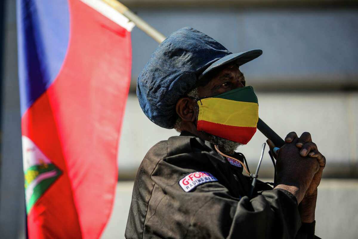 Ustadi Kadiri, with the Haiti Action Committee, called on the Biden administration to welcome Haitians and other Black migrants seeking safety in the United States on Thursday, Oct. 14, 2021, in San Francisco, Calif.