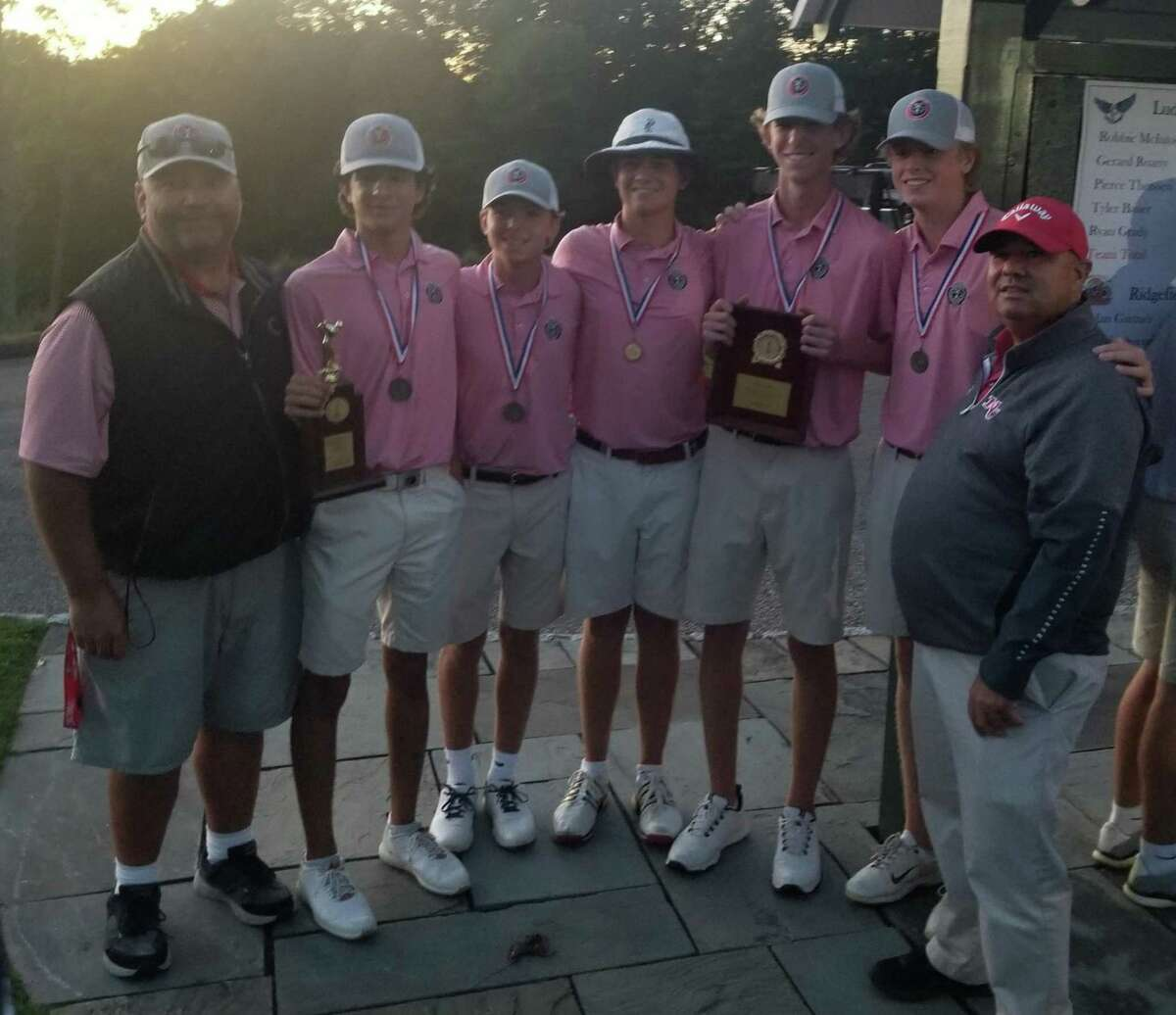 New Canaan won its second consecutive FCIAC boys golf championship on Oct. 14, 2021 at Silver Spring Country Club in Ridgefield.