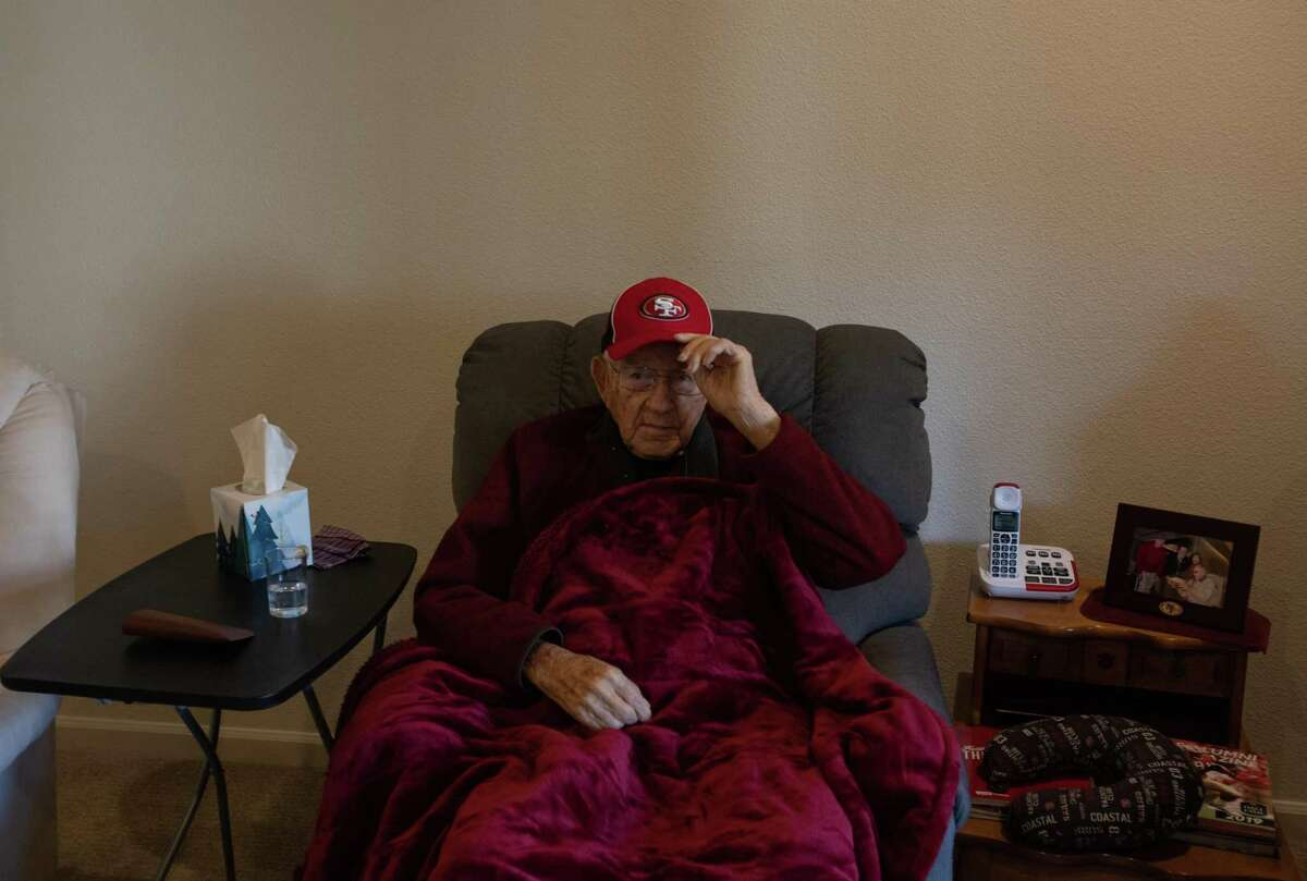 Ken Casanega, 100, the oldest living member of the 49ers, in his apartment in the assisted living facility, The Springs at Veranda Park, on March 4th, 2020, in Medford, Oregon.