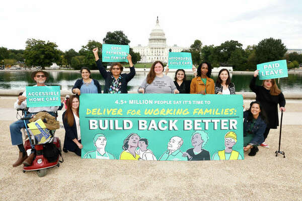 """Activists deliver 4.5 million signatures to Congress in support of home care, paid leave and child care to be included in President Biden's """"Build Back Better"""" budget reconciliation package."""