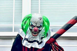 """""""Creepy Clowns"""" are the theme for this year's Glen Carbon Halloween Display at Jeff Garde's home in the Fairfield Subdivision near Father McGivney High School."""