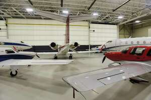 A view of some of the planes in one of the hangars at Million Air on Wednesday, Oct. 13, 2021, at the Albany International Airport in Colonie, N.Y.