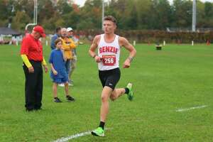 Hunter Jones cruises to a finish, capping a perfect conference season on Oct. 12. (Robert Myers/Record Patriot)