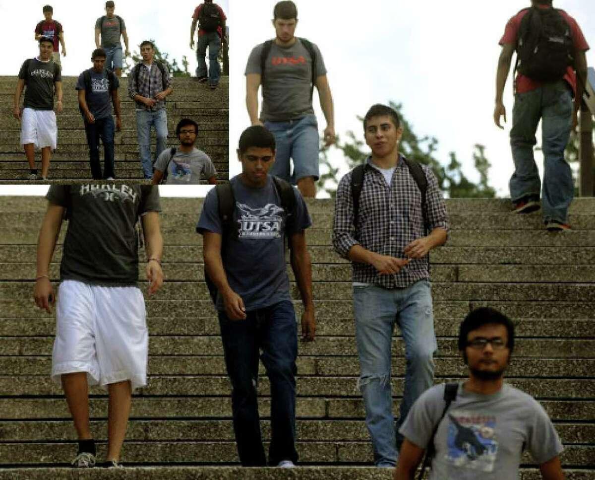 Steven Martinez (left), Joseph Colon and Sean Pastrano walk on the UTSA campus between classes on Sept. 17. Hispanics make up about 44 percent of the student population.