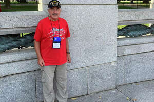 Jim Marion, a Vietnam veteran, at the Illinois Memorial, one of the 10 memorial stops he made during an Honor Flight visit to Washington, D.C. on Sept. 28.