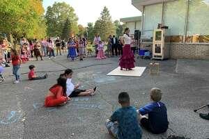 Barbara Arango, the mother of Paloma Arango, also performed a flamenco dance at the Fox Run Elementary Hispanic Heritage Celebration on Friday, Oct. 15.
