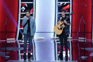 """Jim, left, and Sasha Allen of Newtown, Conn., on their first appearance on NBC's """"The Voice."""""""