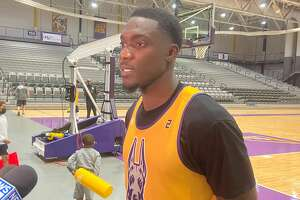 UAlbany basketball player De'Vondre Perry transferred to the program from Temple last April. (Mark Singelais/Times Union)