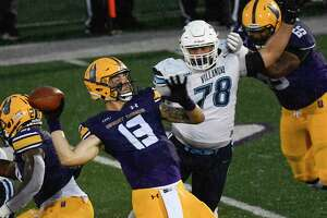 University at Albany quarterback Jeff Undercuffler throws a pass against Villanova during and NCAA football game Saturday, Oct. 16, 2021, in Albany, N.Y. (Hans Pennink/Special to the Times Union)   ORG XMIT: 101721_uafootball_HP102