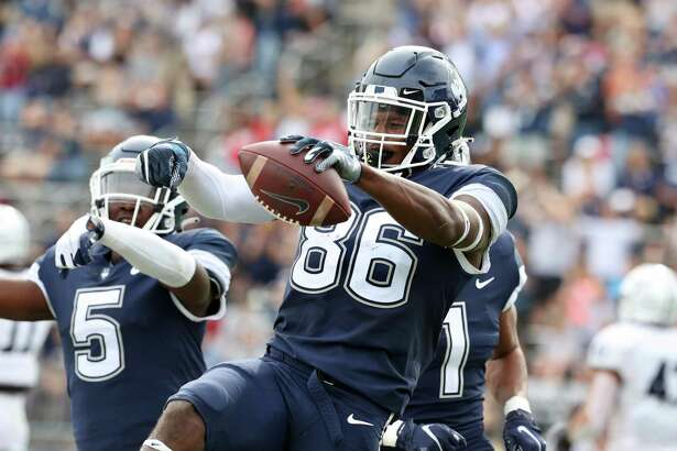 UConn wide reciever Kevens Clercius reacts after a play against Yale on Saturday.
