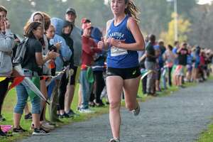 With a time of 17:23 Emily Bush, of Saratoga, won the Division 3, girls race at the 39th Annual Burnt Hills Cross Country Invitational meet at the Saratoga State Park on Saturday, Oct. 15, 2021. (Jim Franco/Special to the Times Union)
